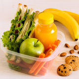 School lunch box with sandwich. School lunch box with sandwich, selective focus Royalty Free Stock Photo