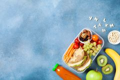 School lunch box with vegetables, fruits and sandwich for healthy snack on table top view. Stock Images