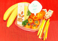 School lunch box in the yellow  color with postie surprise messa Stock Images