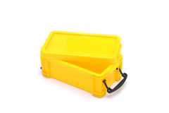 School Lunch box Yellow Isolated on White Background Stock Photos