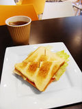 School lunch in campus cafeteria, grilled sandwich