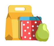 School lunch in cardboard box and jar with polka-dot pattern stock illustration