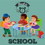 School lunch colorful poster stock illustration