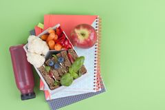 School lunch in the container. Sandwich with cheese and vegetables, fruit and fresh juice. A healthy lunch for children. Books and