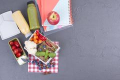 School lunch in the container. Sandwich with cheese and vegetables, fruit and fresh juice. A healthy lunch for children. Top view.