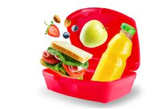 School lunch with flying sandwich, fresh fruits and juice Royalty Free Stock Image