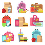 School lunch food boxes and kids bags vector flat icons Royalty Free Stock Images