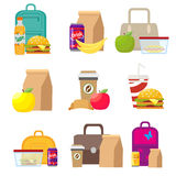 School lunch food boxes and kids bags. Vector, illustration in flat style isolated  Stock Images