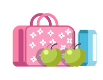 School lunch in girlish briefcase with flowers and apples Royalty Free Stock Photos