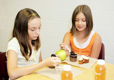 School Lunch - Girls Table Stock Photo