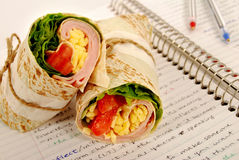 School lunch: ham and cheese wrap sandwich on notebook Stock Images