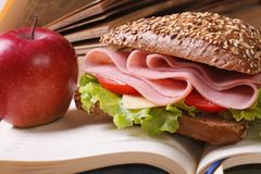 School lunch: a ham sandwich and an apple on open notebook Royalty Free Stock Photos