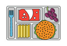 School lunch in line style Royalty Free Stock Image