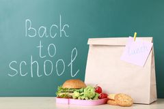 School lunch with paper bag stock photo