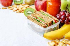 School lunch with a sandwich, fresh fruits, crackers and juice Stock Image