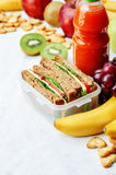 School lunch with a sandwich, fresh fruits, crackers and juice Stock Photos