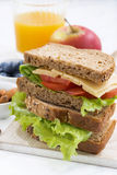 School lunch with sandwich of wholemeal bread, closeup Stock Photography