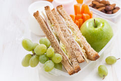 School lunch with sandwiches and fruit, top view, close-up Stock Photo