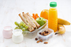 School lunch with sandwiches, fruit and yogurt Royalty Free Stock Photography