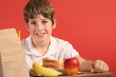 School lunch upclose. Shot of a boy with school lunch upclose Stock Images