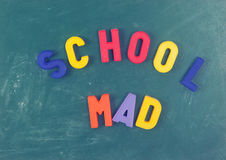School Mad Letters on a Blackboard Stock Photography