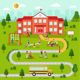 School map. Flat design vector illustration of city map landscape with school building. Bus, playground with playing kids, road, girls and boys with backpacks Stock Photo