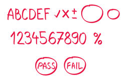 School marks. Made with red marking pen Royalty Free Stock Photo