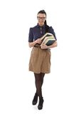 School-marm novo com sorriso dos livros Foto de Stock Royalty Free