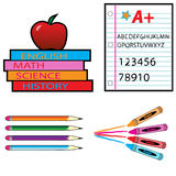 School Materials. Materials used for school; pencils, crayons, and books Royalty Free Stock Photo