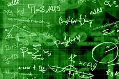 School math background. School random mathematic green background Stock Photos