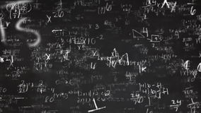 School Math Equations on Chalkboard Flyby in 3D stock footage