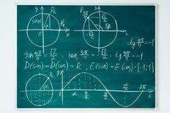 School math lesson. Trigonometry. Chalkboard Function graphs. School math lesson. Trigonometry. Chalkboard Function graphs stock photography