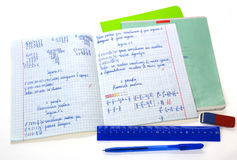 School math notebook. With ruler and pen Royalty Free Stock Image