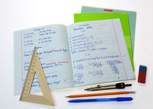 School math notebook. With ruler and pen Royalty Free Stock Images