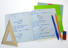 School math notebook. With ruler and pen Stock Image