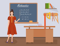 School Mathematics female teacher in audience class concept. Vector illustration. Royalty Free Stock Image