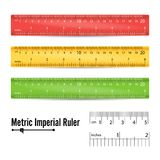School Measuring Ruler Vector. Measure Tool. Millimeters, Centimeters And Inches Scale. Isolated Illustration. School Plastic Ruler Vector. Measure Tools Royalty Free Stock Photos
