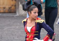 School military band dancer. School military  band dancer participating in the preparation of the festive parade in honor of the Independence Day of Guatemala Stock Photos