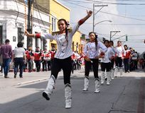School military band dancers. School military  band dancers participating in the preparation of the festive parade in honor of the Independence Day of Guatemala Stock Image
