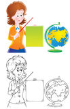 School mistress. Teacher with a globe (3 versions of the illustration Royalty Free Stock Images
