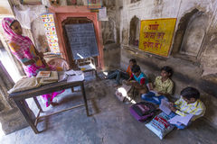 School mistress and students in a Village school in Mandawa, India Stock Images