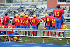 school modiga höga spelare för fotboll sidlinjer Arkivfoton