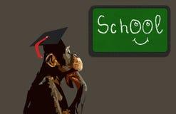 School monkey. Graduated school monkey  illustration Royalty Free Stock Images