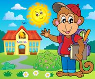 School monkey theme image 3 Stock Photography
