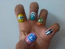 School nail art. Nail school math music geography Stock Photos