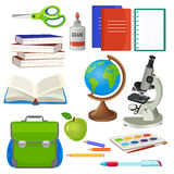 School necessary thing for studying vector collection on white. Green backpack, pile of closed books and one open, blue and red copybooks, world globe, grey Royalty Free Stock Photo