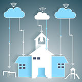 School Network Cloud Computing Paper Cutout Royalty Free Stock Images
