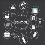 School. Network, mind mapping, info graphic Stock Photos