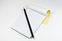 School, nota's en potlood Stock Foto's