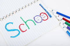 School. Note on notebook with colorful pen Stock Photo
